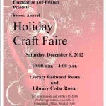 Please come to the Holiday Craft Faire in the Library
