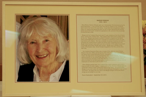 Plaque which will hang inside, describing Margie Edinger's life