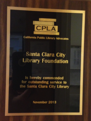 Award plaque given by the CPLA to the Santa Clara Library Foundation and Friends board.
